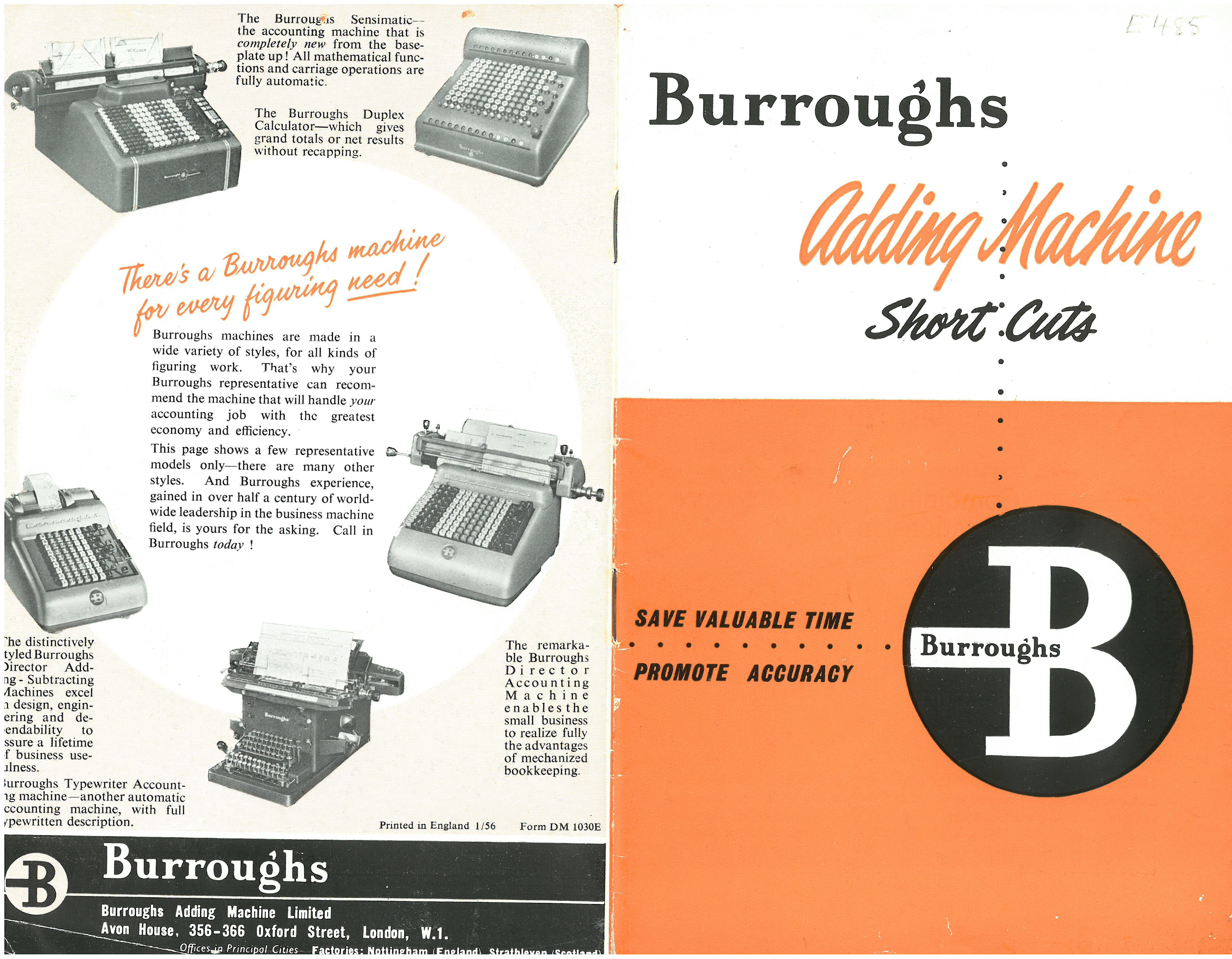 Burroghs Adding Machine Short Cuts Manual