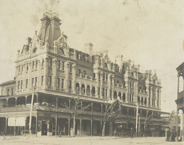 old black and white photo of the shamrock hotel