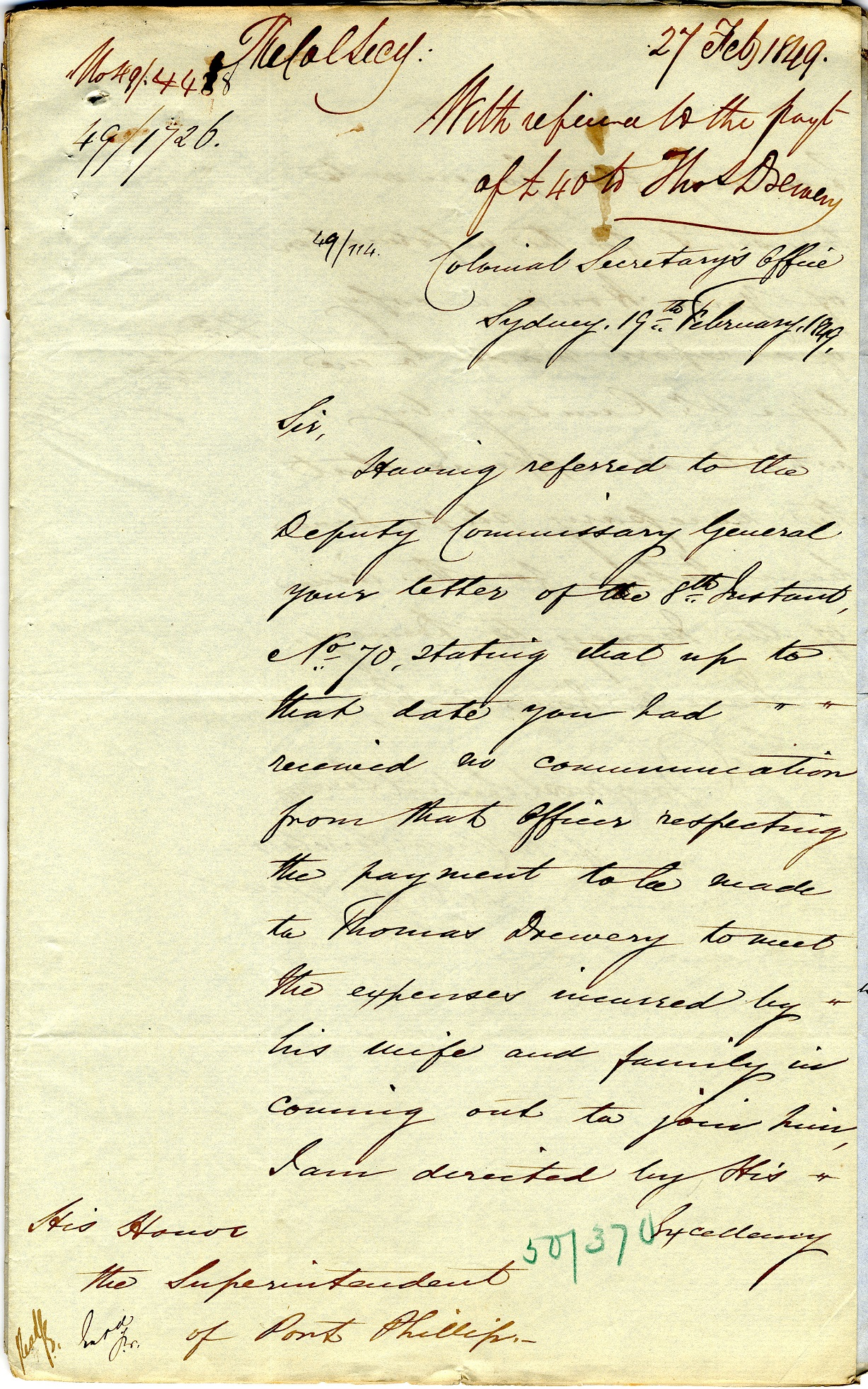 Colonial Secretary, letter to the Superintendent of Port Phillip with reference to the payment of £40 to Thomas Drewery