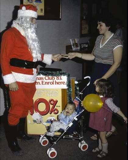photo of Santa handing out presents