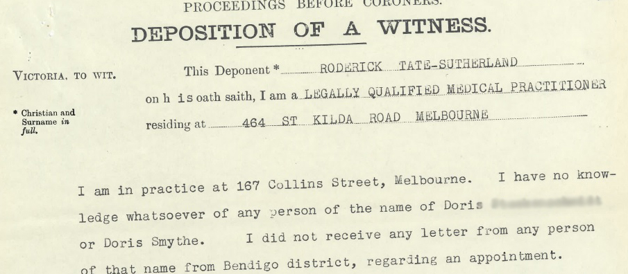 Sample close up of an historic inquest record