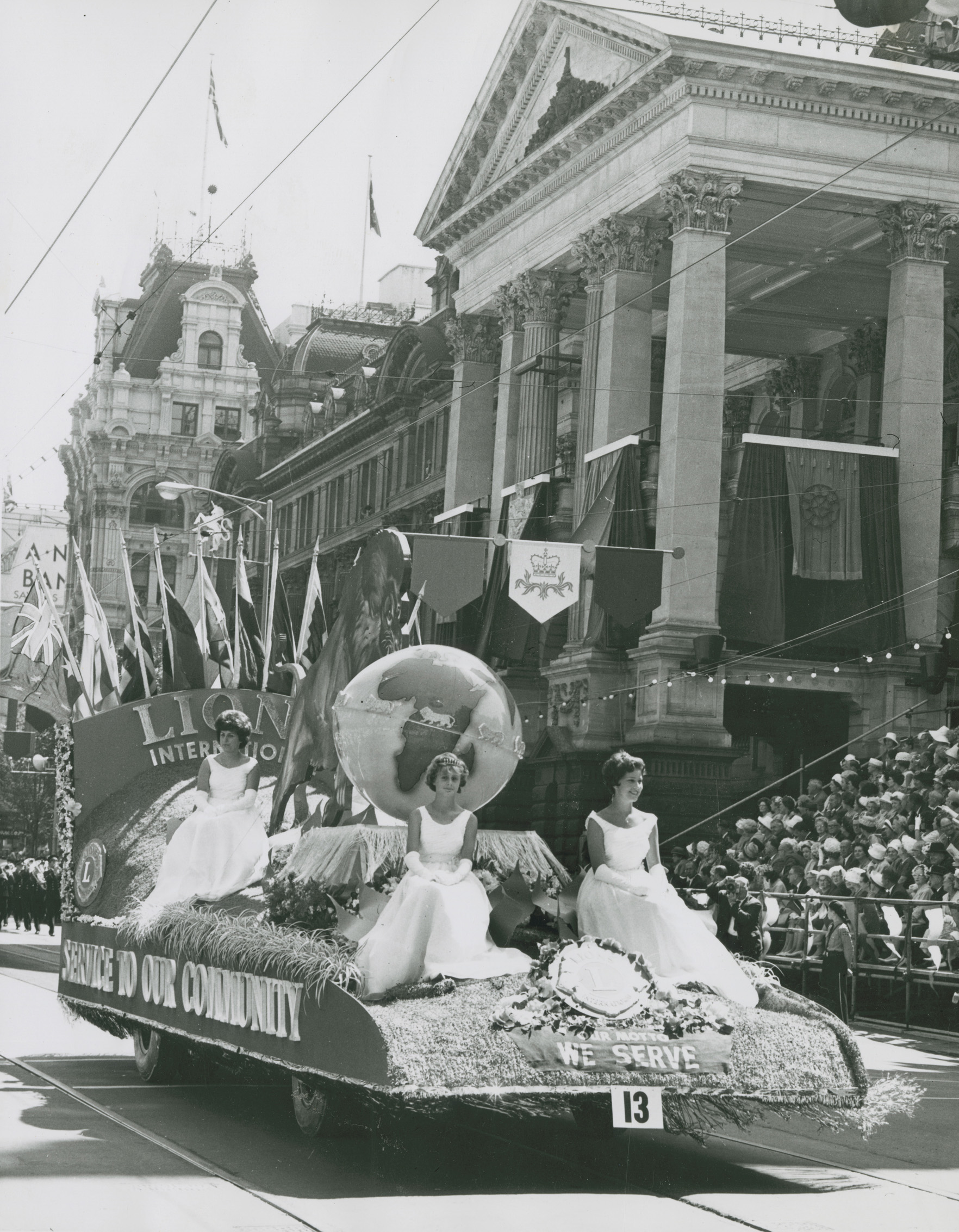 photo of the lions float which features a world globe