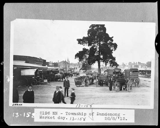 black and white photo of market day at Dandenong