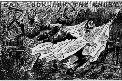 Illustration of a ghost hoaxer beaten by a mob in Devon 1894