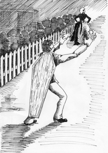 Artist's impression of the Ballarat hoaxer who assaulted a woman on Eureka St while dressed as a ghost in phosphorous, with a coffin lid strapped to his back.