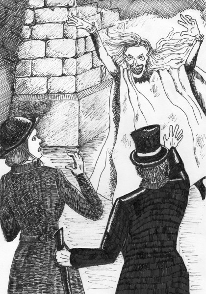 Artist's impression of a woman who engaged in ghost hoaxing under bridges wearing a white phosphorous sheet and a hideous paper mache mask
