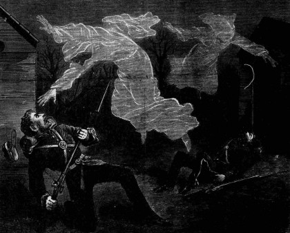 Illustration of the Aldershot ghost hoaxes, Illustrated Police News, 28 April 1877