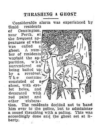 Example of an article with illustration about a ghost hoaxer being thrashed in Connington near Perth, Western Australia9.
