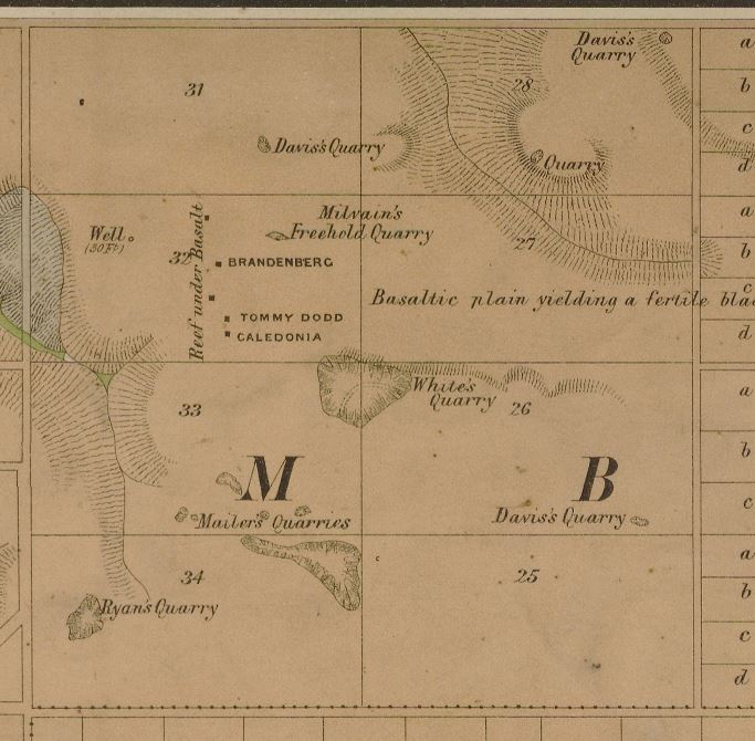Image showing portion of Lidgey's 1894 Malmsbury and Lauriston Gold Field Map.