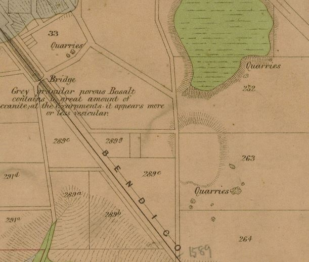 Image of portion of Lidgey's 1894 Malmsbury and Lauriston Gold Field Map.