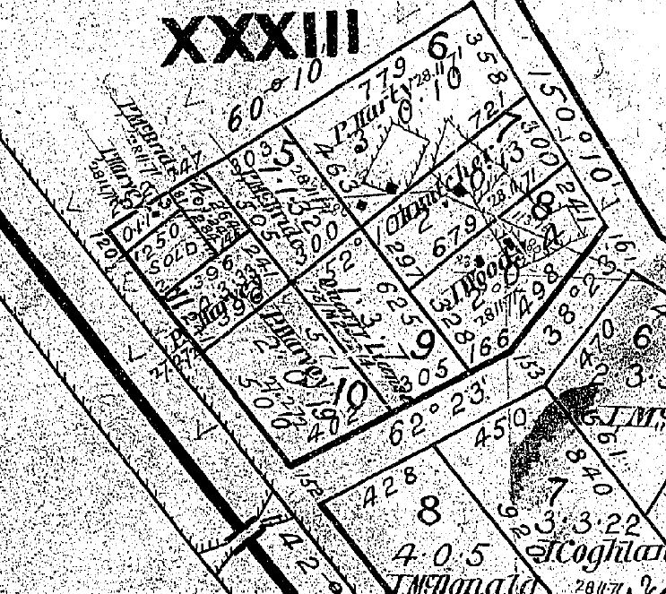 Image of portion of 1871 'Putaway' Parish Plan M65H_1 for Malmsbury.