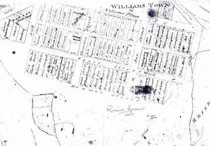Hoddle's plan of Williamstown indicating names of grantees
