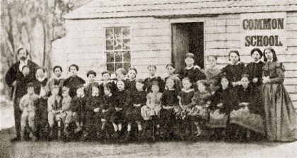 Baringhup Common School, opened 1855, from The Early History of Baringhup by D Thomas. State Library of Victoria.