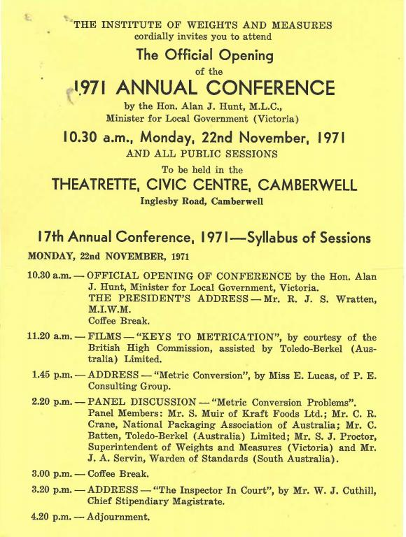 Image of weights and measures conference flyer from 1971 Melbourne