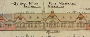 Pre-metric colour building plan of Port Melbourne State School