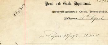 Historical document of the Penal and Gaols Department, Inspector Generals Office