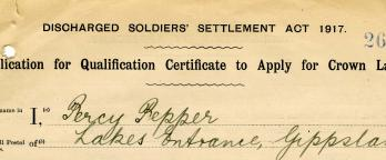 An image of a historical soldier settlement document