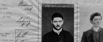 Black and white photo of Ned Kelly's criminal records