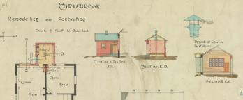 Colour hand drawn building plan of Carisbrook school remodeling and renovating
