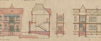 Colour drawing of building plans
