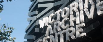 An image of the entrance sign to Victorian Archive Centre
