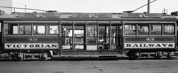 Black and white photo, old tram