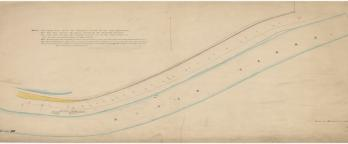 Historic plan of the Yarra River, watercolour drawing, 1869