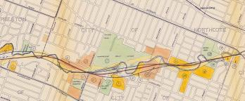 Map with drawing of proposed freeway