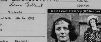 Black and white image, mugshot and police record