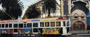 A colourful tram near Lunar Park