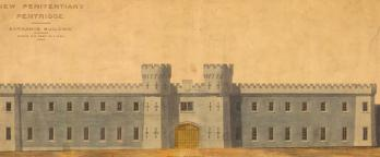 Watercolour drawing, plan of Pentridge Prison