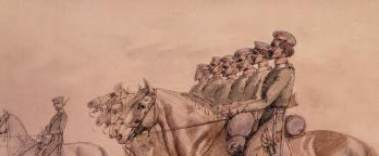 Watercolour depicting Aboriginal troopers on horseback