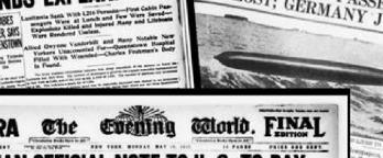 Assorted newspaper headlines about war