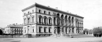 black and white photo of the old treasury building