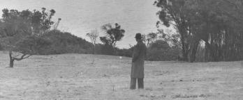 black and white photo of a man looking out over a field of trees and grass