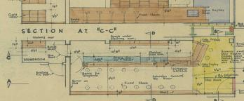 Close up of Pellegrinis original building plan