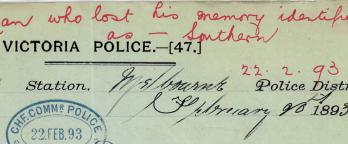 "red writing on the top of a Victoria Police document that says ""man who lost his memory identified"""