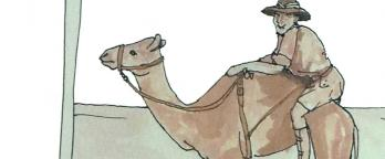 drawing of a man on a camel