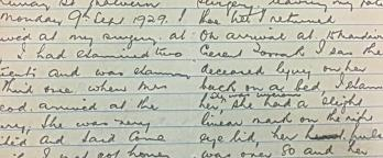 photo of handwritten notes in a notebook relating to a deceased person being found