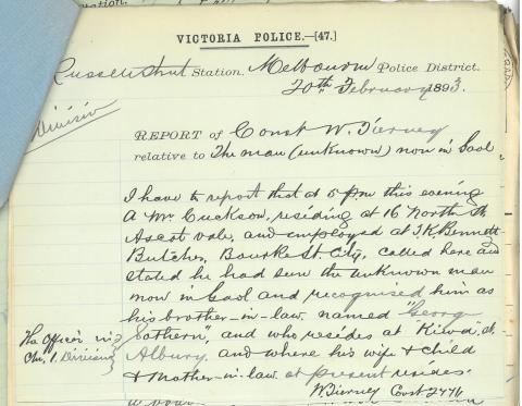 hand written police report whereby George's brother-in-law identifies him