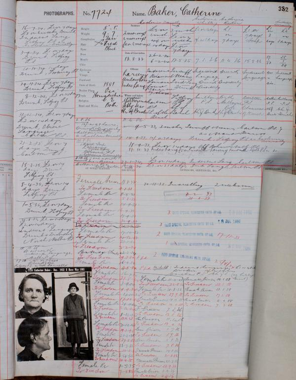 photo of a file for catherine baker which includes her photo and lots of handwritten notes
