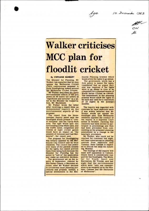 "The Age, 10/12/1983 within VPRS 11544/P1, unit 649, ""Melbourne Cricket Ground Development"" file 32 1 312"