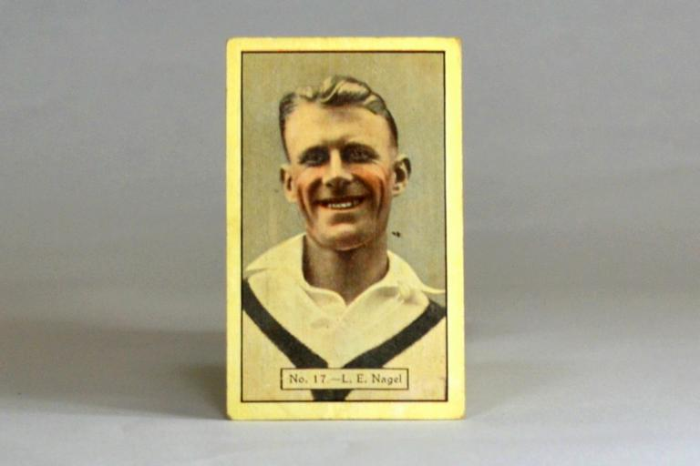 Allen's Sweets cricket card featuring Lisle Nagel, circa 1932
