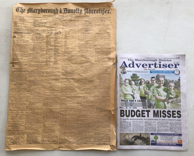 The Maryborough & Dunolly Advertiser from 1858 and today
