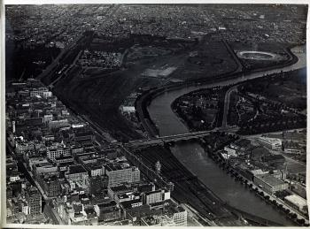 black and white aerial photo of flinders street